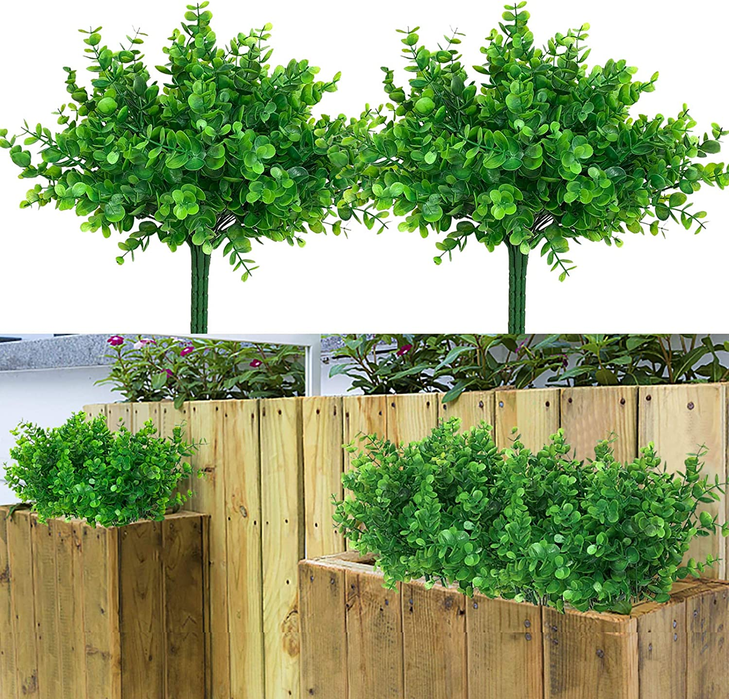 LAPONEE 8 Bundles Artificial Flowers UV Resistant Shrubs Plants, Faux Greenery for Indoor Outside Hanging Plants Décor to Make Your Garden Porch Window Box Home Wedding More Beauty (Green)