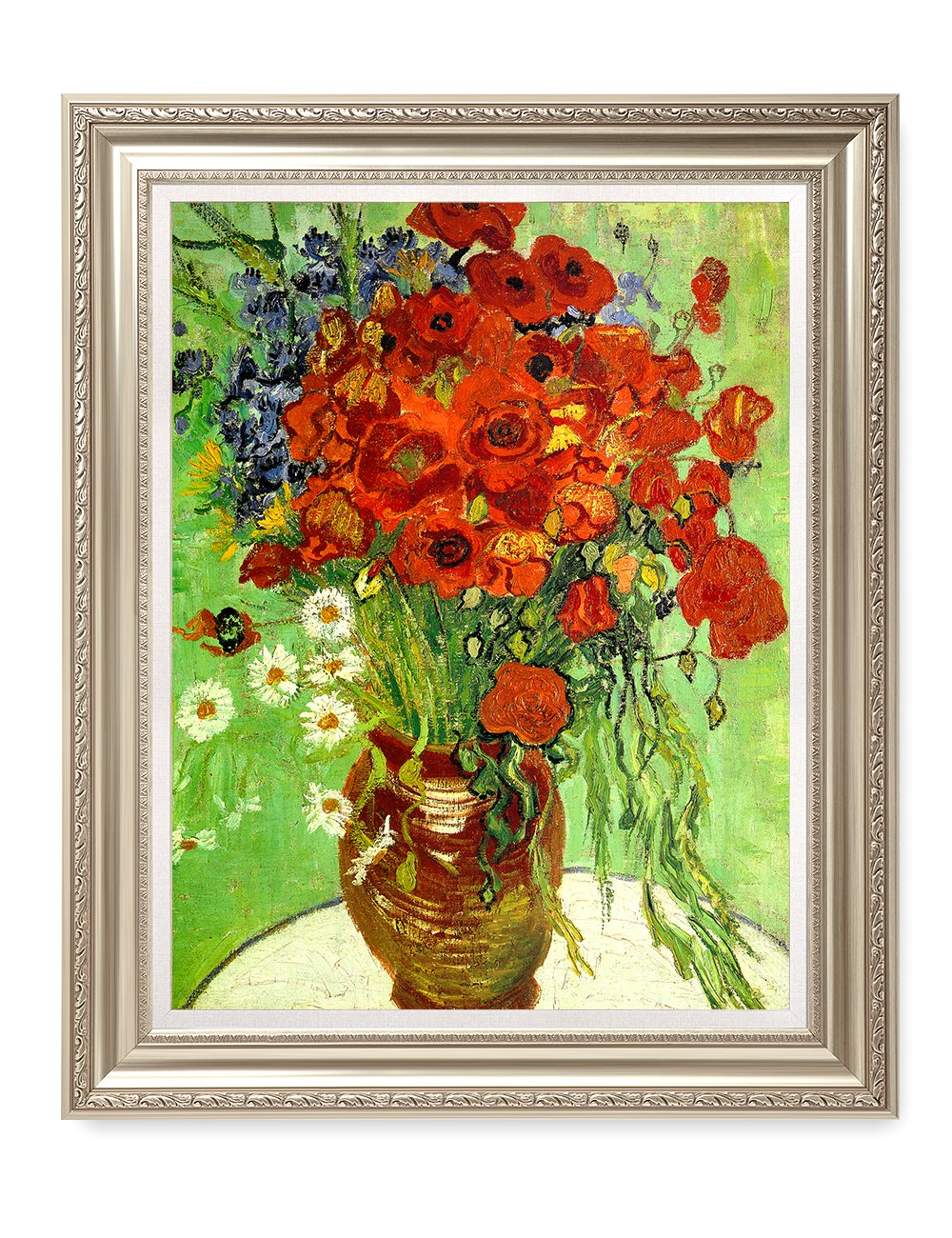 DecorArts- Red Poppies And Daisies, Vincent Van Gogh Art Reproduction. Giclee Print& Museum Quality Framed Art. 24x30'', Outside Size: 30x36'' by DECORARTS