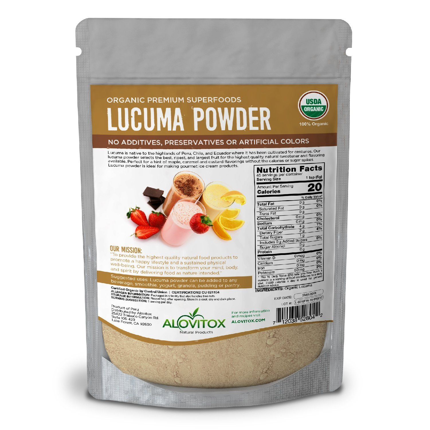 Lucuma Powder Superfood - Certified Organic, Raw, Pure and Healthy - Smoothie Natural Sweetener, Vegan, Gluten Free 8oz Pouch - Great in Yogurt, Smoothies, Ice Cream - By Alovitox by ALOVITOX (Image #7)