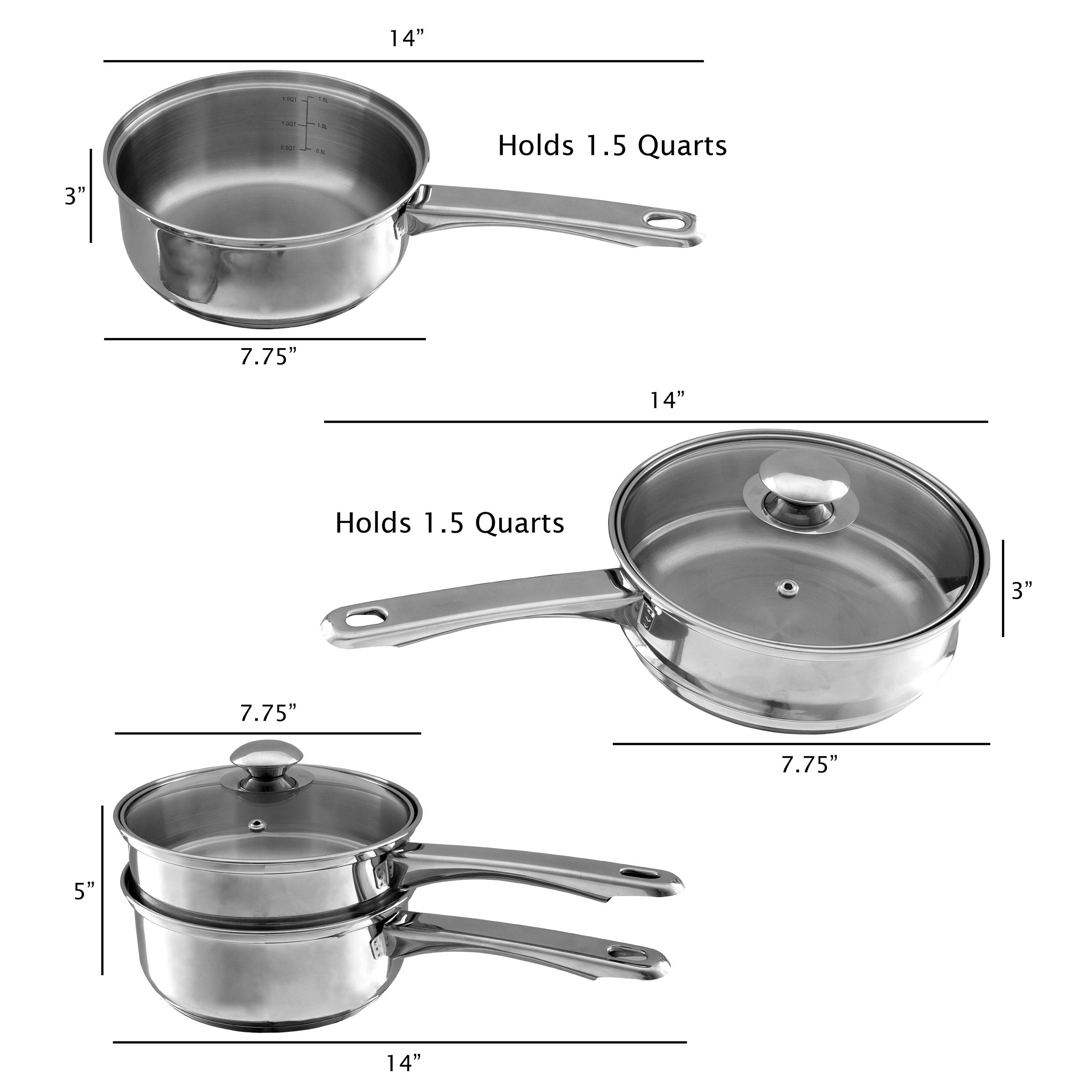 Stainless Steel 6 Cup Double Boiler – 1.5 Quart Saucepan 2-in-1 Combo with Vented Glass Lid- Kitchen Cookware with Measurements by Classic Cuisine by Classic Cuisine (Image #2)