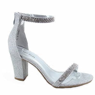 aafadea3cf562 Top Moda Hannah-16 Women's Fashion Ankle Strap Rhinestone Dress High Heel  Sandal Shoes