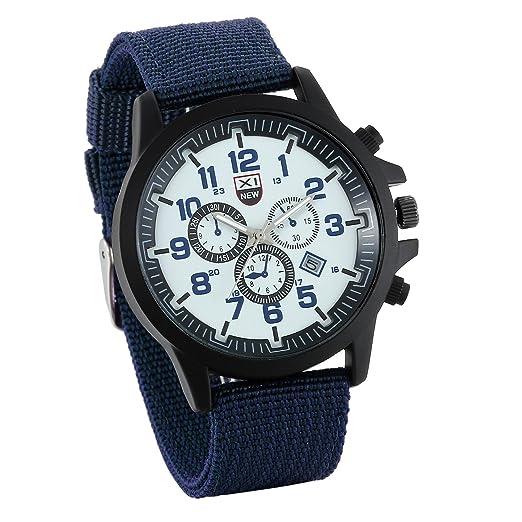 JewelryWe Relojes de Hombre Militar Deportivo Reloj de Pilotos con Correa de Nylon Dial Grande con Calendario 3 Subesferas Decorativa, Azul Reloj para Aire ...