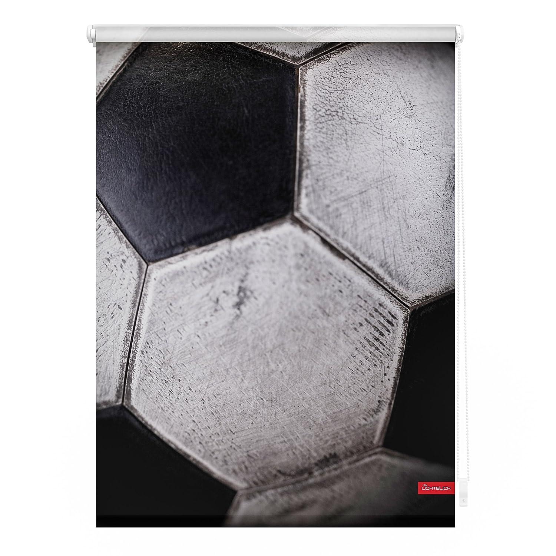 Lichtblick KRT.080.150.392 Rollo Klemmfix, ohne Bohren, Blickdicht, Retro Fußball - Schwarz-Weiß 80 x 150 cm (B x L)