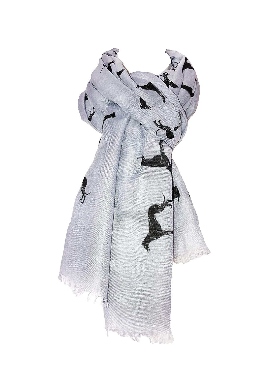 Bufanda gris con diseño de galgo negro y borde deshilachado. -- Grey with black Big greyhound scarf with frayed edge.