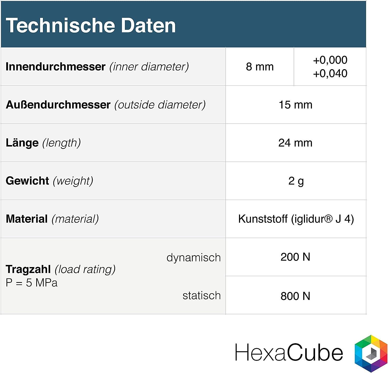 Igus® Rodamiento de deslizamiento 8 mm - drylin® R - rj4jp 01 - 08 ...