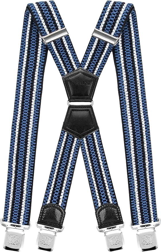 Decalen Tirantes Hombre Elásticos Ancho 40 mm con Clips Extra Fuerte Una Talla Para Todos (Azul Blanco Negro 2): Amazon.es: Ropa y accesorios
