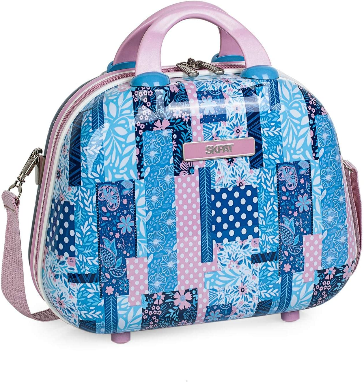 SKPAT - Neceser de Viaje Infantil Grande rígido de policarbonato Estampado. Maleta de Aseo. cómodo y con Espejo Bonito diseño. 130035, Color Azul