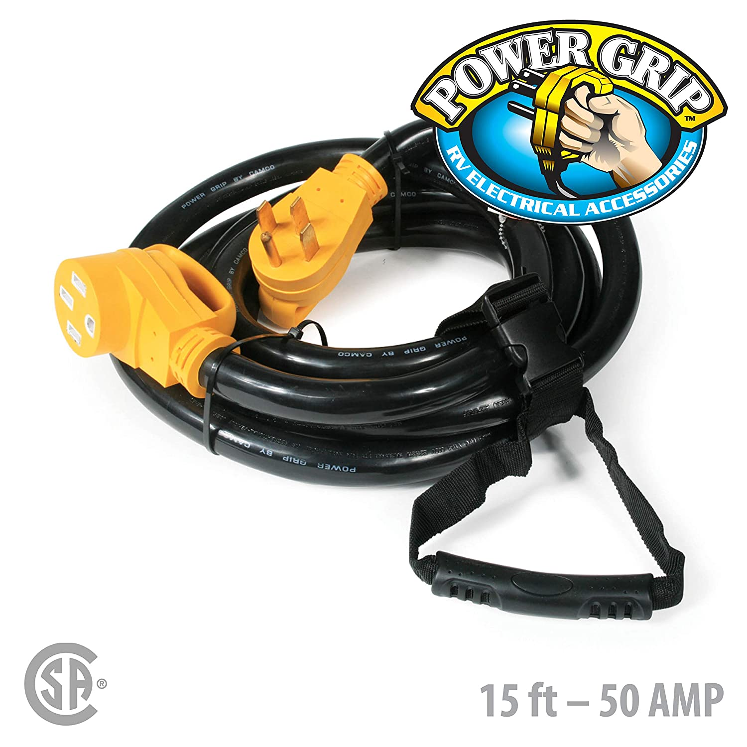 Camco Heavy Duty 50 Amp Rv And Auto Extension Cord With 110 Volt Wiring Powergrip Handle 6 8 Gauge Includes Convenient Carrying Strap 15ft 55194