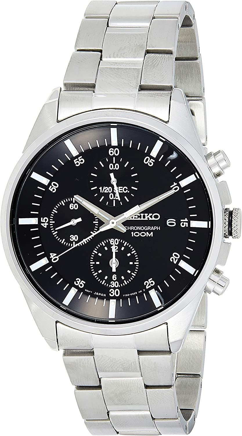 Seiko Men s SNDC81 Stainless Steel Analog with Black Dial Watch