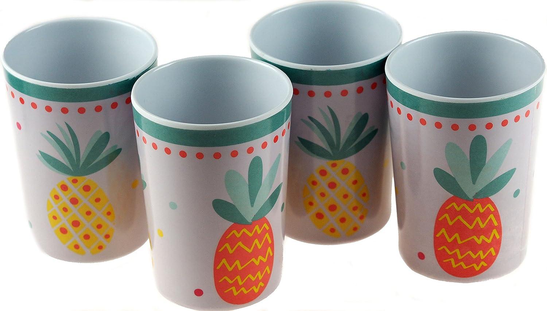 Bowls Pineapple Design Set Of 4 Melamine Summer Garden Plates Cups