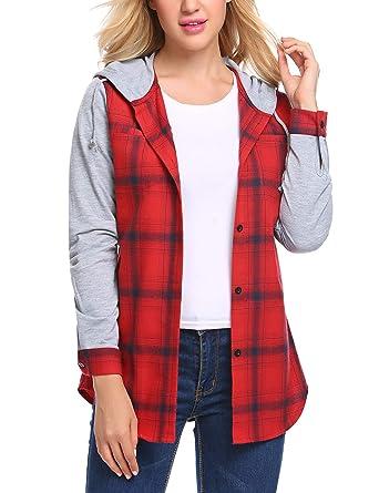 b026242879 Zeela Damen Herbst Langarm Kariert Hemd mit Kapuze Karo Bluse mit Taschen