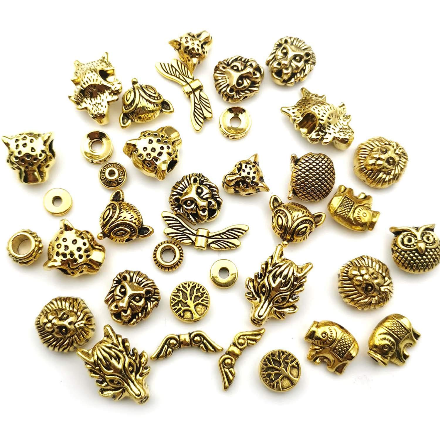 Youdiyla 64pcs Space Beads Charms Collection Antique Gold Tone Mix Gold European Spacer Loose Hole Metal Beads Craft Supplies Findings for Necklace and Bracelet Jewelry Making HM247
