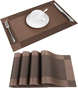 Placemat, Crossweave Woven Vinyl Non-Slip Insulation Placemats, Heat-Resistant Stain Resistant Anti-Skid Washable PVC Table Mats, Easy to Clean, Set of 4 (Brown-2)