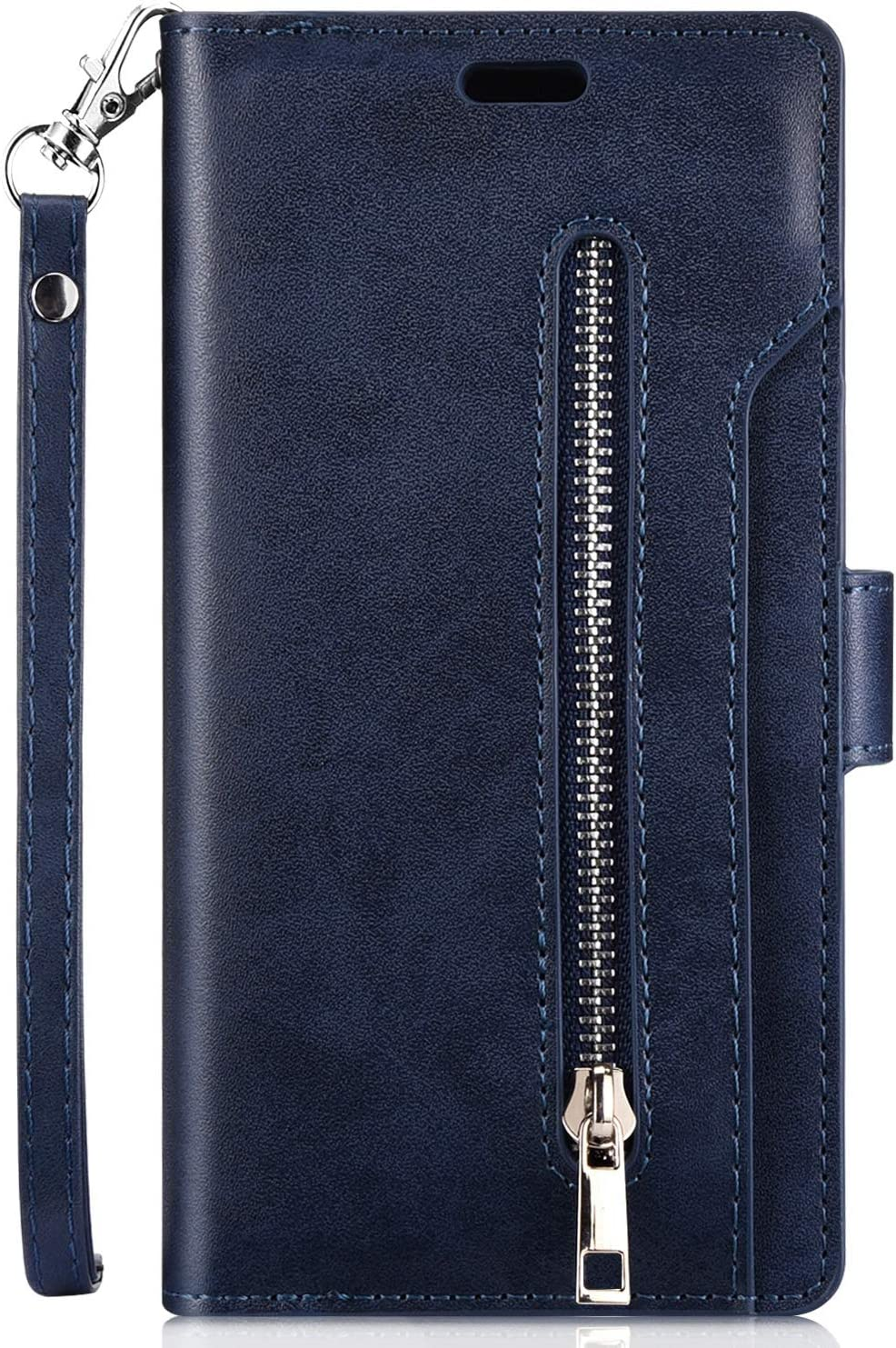 Premium PU Leather Wallet Folio Stand Cover Full Body Design Inner Soft TPU Silicone with Card Slots Magnetic Closure Protective Flexible Cover,Blue JAWSEU Case Flip Compatible with Huawei P30 Lite