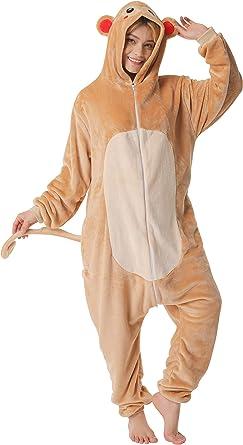 corimori- Louis El Mono Pijamas Animal Traje de Una Pieza Disfraz Adultos Invierno, Color marrón, Talla 150-160 cm (1852) , color/modelo surtido