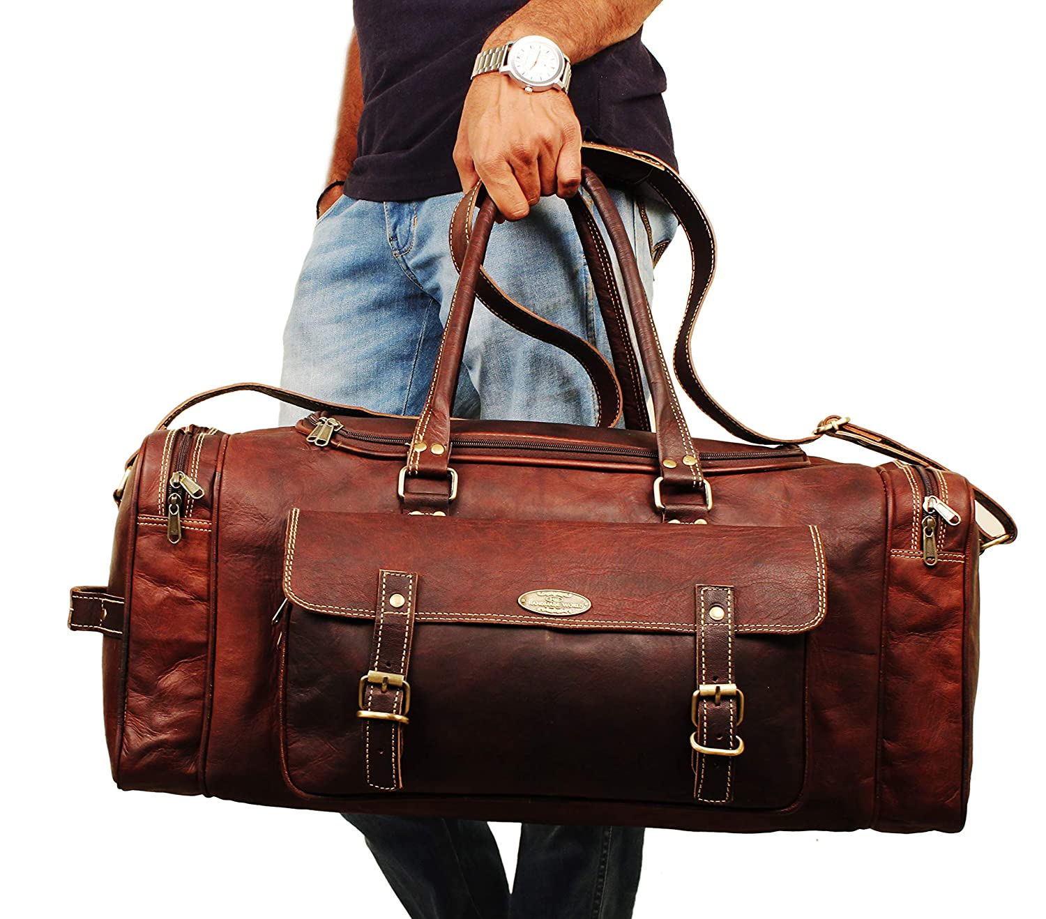 "20/"" Men/'s Genuine Leather Vintage Duffle Travel Gym Weekend Overnight Bag"