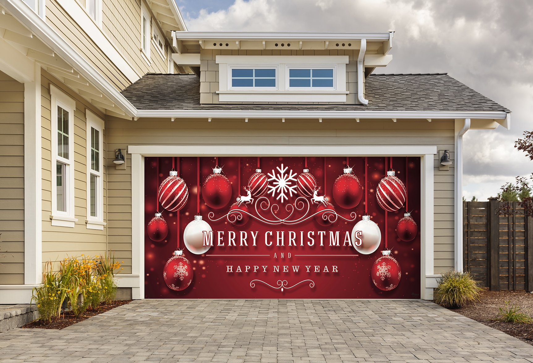 Outdoor Christmas Holiday Garage Door Banner Cover Mural Décoration 8'x16' - Red Ornaments in Snow Outdoor Christmas Holiday Garage Door Banner Décor Sign 8'x16' by Victory Corps