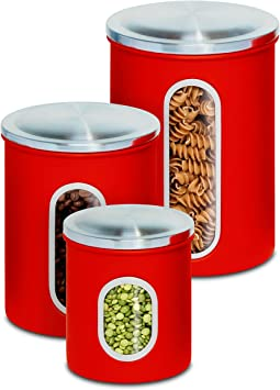 Honey-Can-Do KCH-03011 3-Piece Metal Nested Canister Set, Red