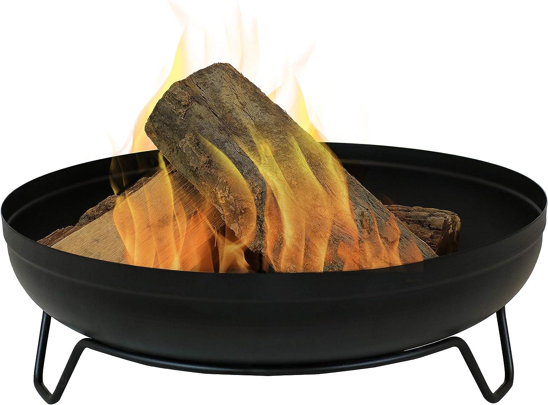 Sunnydaze Steel Outdoor Wood-Burning Fire Pit Bowl - 23-Inch Bonfire Pot - Patio & Backyard Fireplace - Black