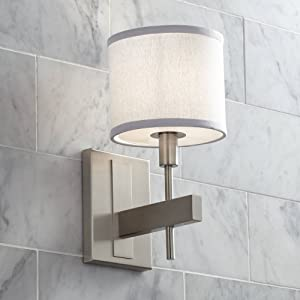 """Orson Modern Wall Lamp Satin Nickel Hardwired 13 1/2"""" High Fixture White Drum Shade for Bedroom Reading Living Room Hallway - Possini Euro Design"""