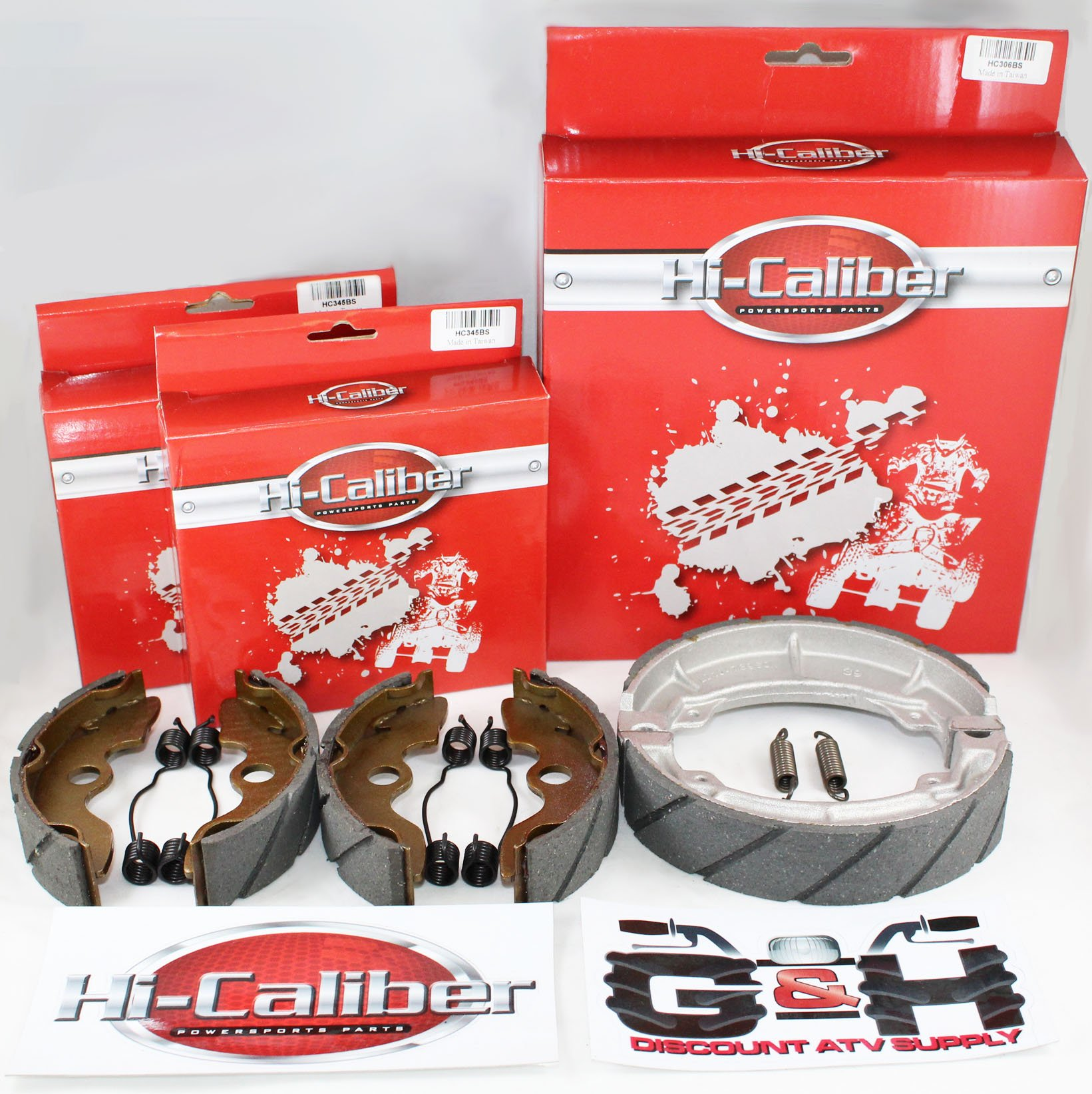 FRONT & REAR SET OF WATER GROOVED BRAKE SHOES + SPRINGS For the Honda TRX 200SX Fourtrax by Hi-Caliber Powersports Parts