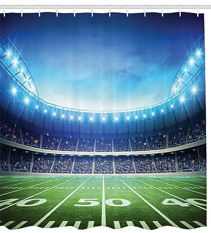 Football Sports Stadium Theme Fabric Kids Shower Curtain