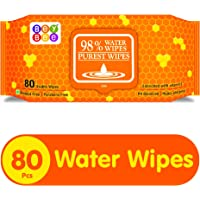 Bey Bee Hypoallergenic Baby Water Wipes for New Born Babies with Fliptop Lid, 80 Wipes