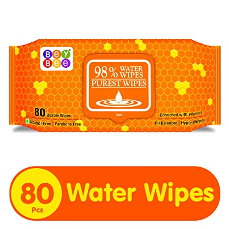 eaa8742d0e2 Buy Bey Bee Hypoallergenic Baby Water Wipes for New Born Babies with  Fliptop Lid, 80 Wipes Online at Low Prices in India - Amazon.in
