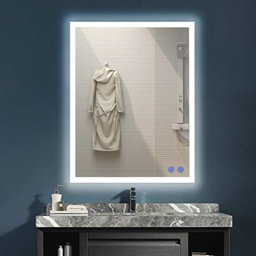 VENETIO 28 x 36 Inch LED Lighted Mirror Bathroom Wall Mounted Backlit Design with Adjustable Daylights and Memory Touch Button, Defogger and Waterproof, 28 x 36 in, White