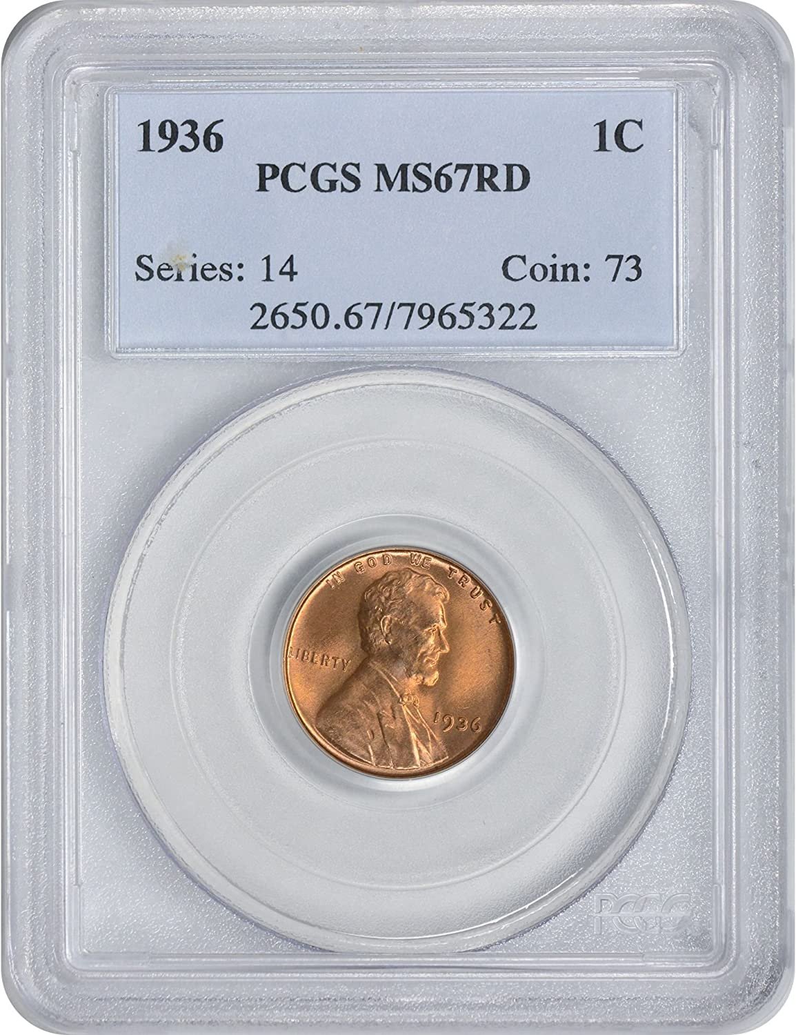 1936 Lincoln Cent Ms67rd Pcgs At Amazons Collectible Coins