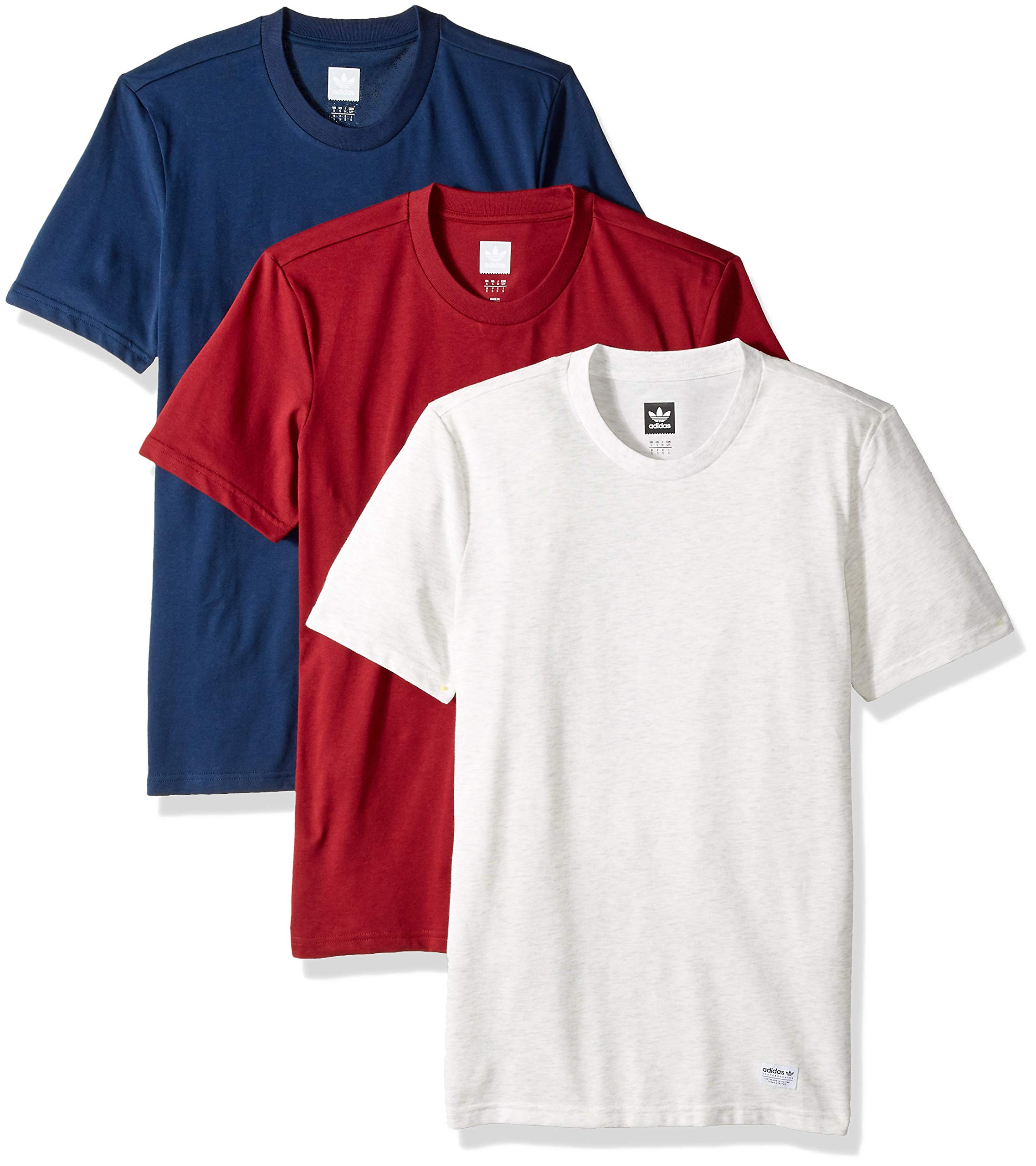adidas Originals Men's Skateboarding 3 Pack Tees, Pale Melange Navy/Collegiate Burgundy, S by adidas Originals (Image #1)