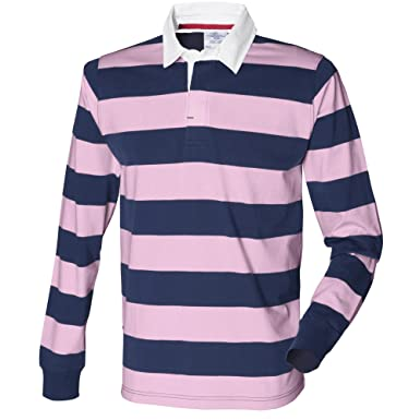 Front Row Herren Rugby Polo-Shirt, gestreift, Langarm (XS) (Marineblau