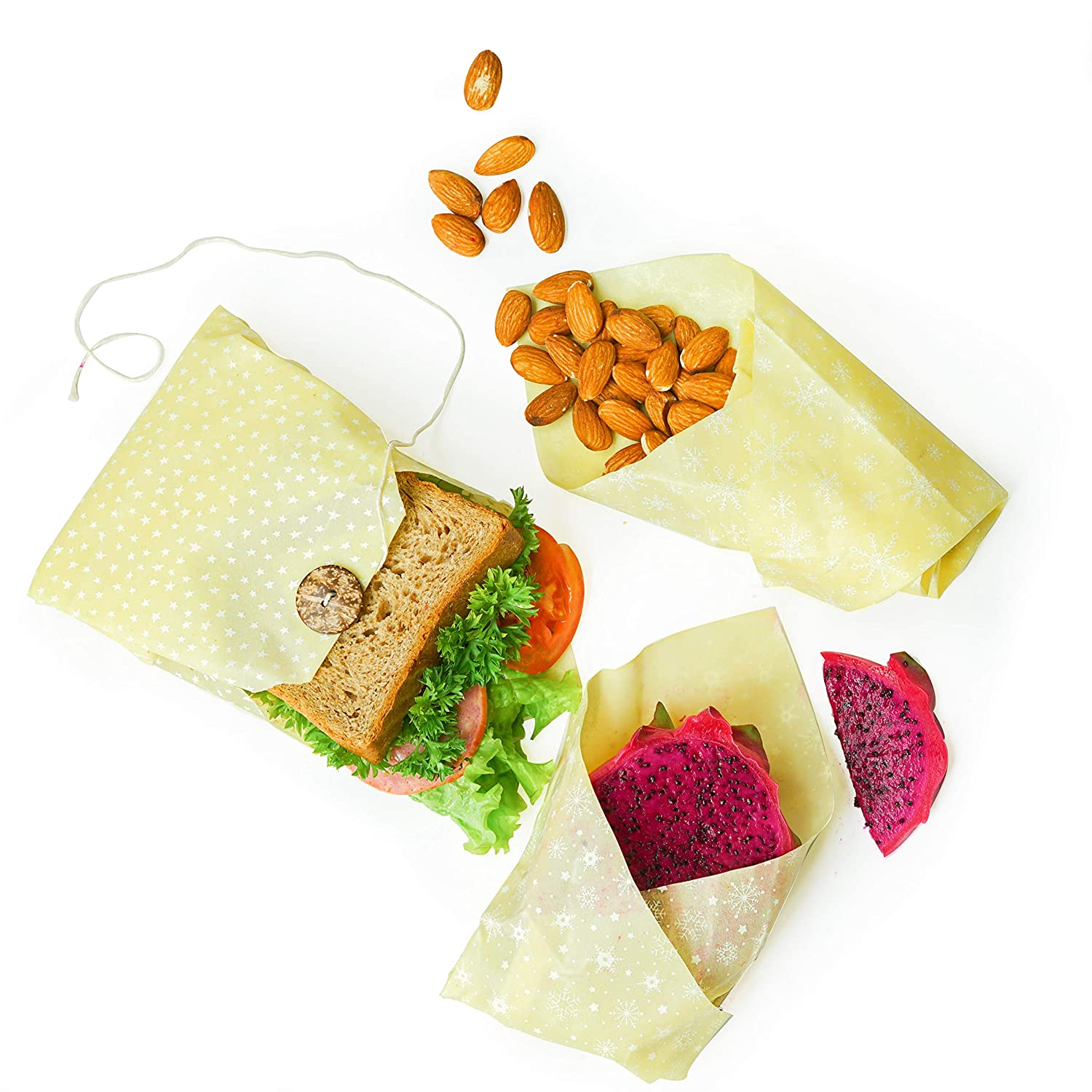 Beeswax wrap - Beeswax food wrap - Lunch Pack Reusable, Natural Healthy and  Biodegradable Wraps Handmade, Non-Toxic & Plastic Free Food Wraps -