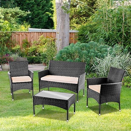 Set de muebles de jardin TRENTO Mesa+Sofa+2 Sillones de ratan Negro -McHaus: Amazon.es: Juguetes y juegos