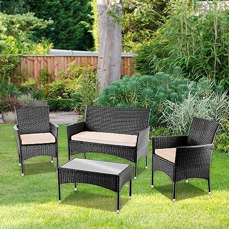 Mc Haus Negro Set de Muebles de Jardin Trento Sofa+2 Sillones de ratán, Mesa, sofá y 2 sillas