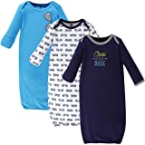 Hudson Baby Unisex Baby Cotton Gowns, Cool Little Dude 3-Pack, 0-6 Months