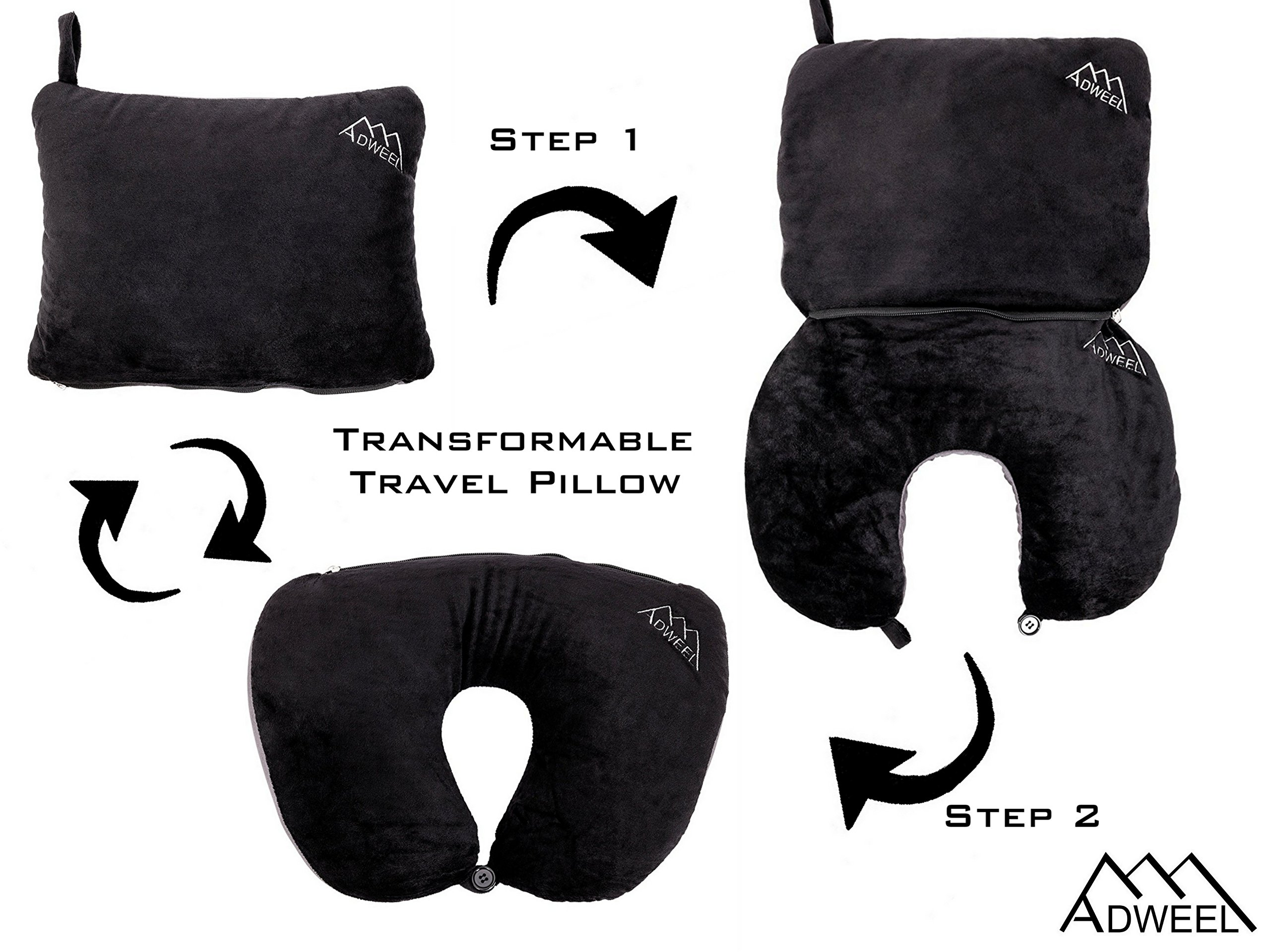 Adweel Neck Travel Pillow Black&Grey Transformable