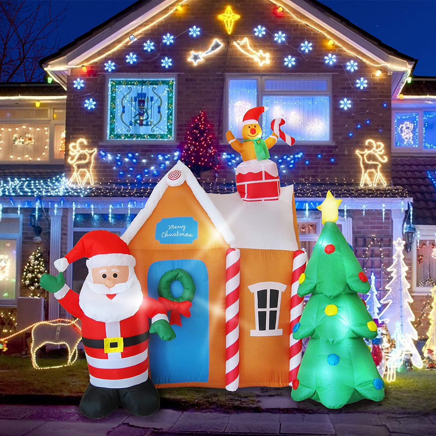 Evoio 6 Ft Christmas Inflatables Blow Up Yard Outdoor Decorations, Gingerbread House with Santa Claus & Christmas Tree, LED Glow up Inflatable Christmas Decorations for Outdoor Yard Garden