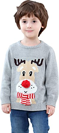 Childrens Santa Rudolph Print Xmas Sweater Unisex Christmas Party Knitted Top