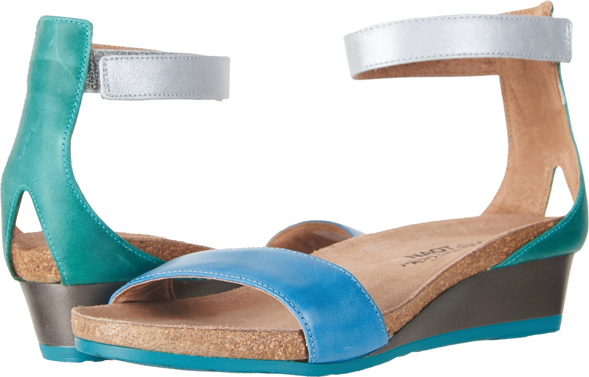 Naot Footwear Women's Pixie Vintage Blue Leather/Oily Emerald Nubuck/Ice Blue Leather 35 M EU