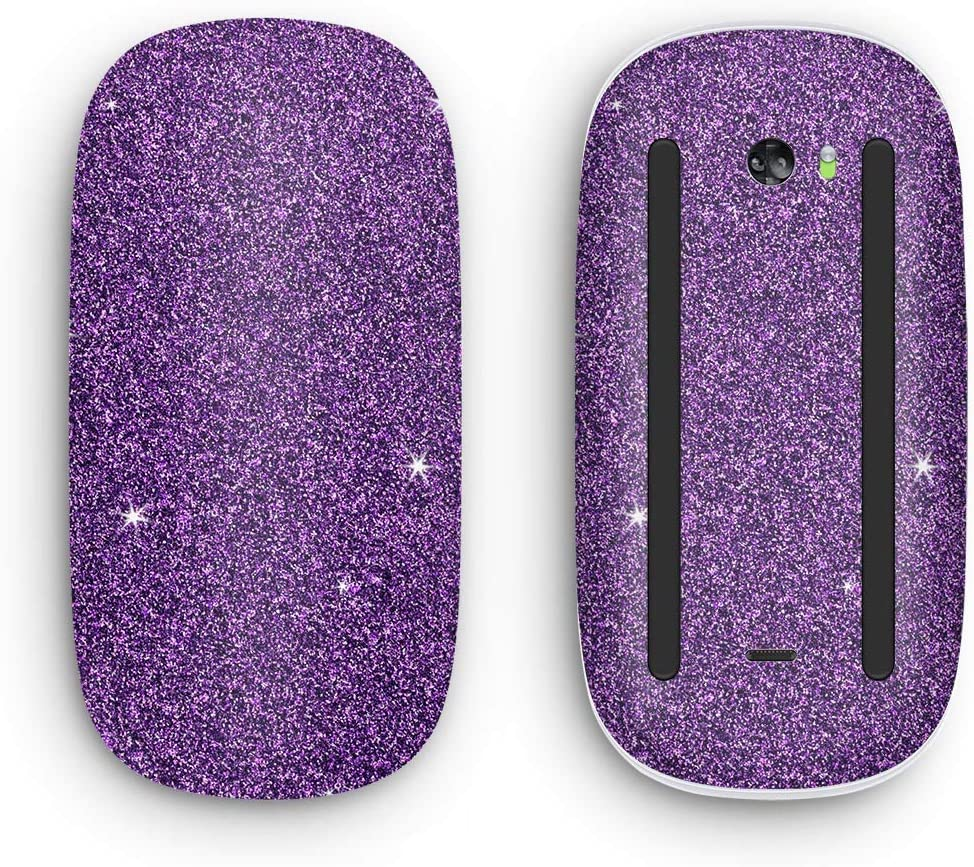 Design Skinz Sparkling Purple Ultra Metallic Glitter Vinyl Decal Compatible with The Apple Magic Mouse 2 (Wireless, Rechargable) with Multi-Touch Surface