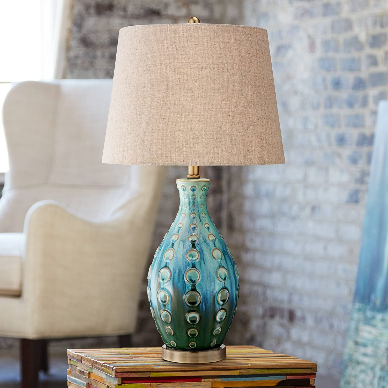 Mid Century Modern Table Lamp Vase Teal Handmade Tan Linen Tapered Drum Shade for Living Room Family Bedroom Bedside - 360 Lighting