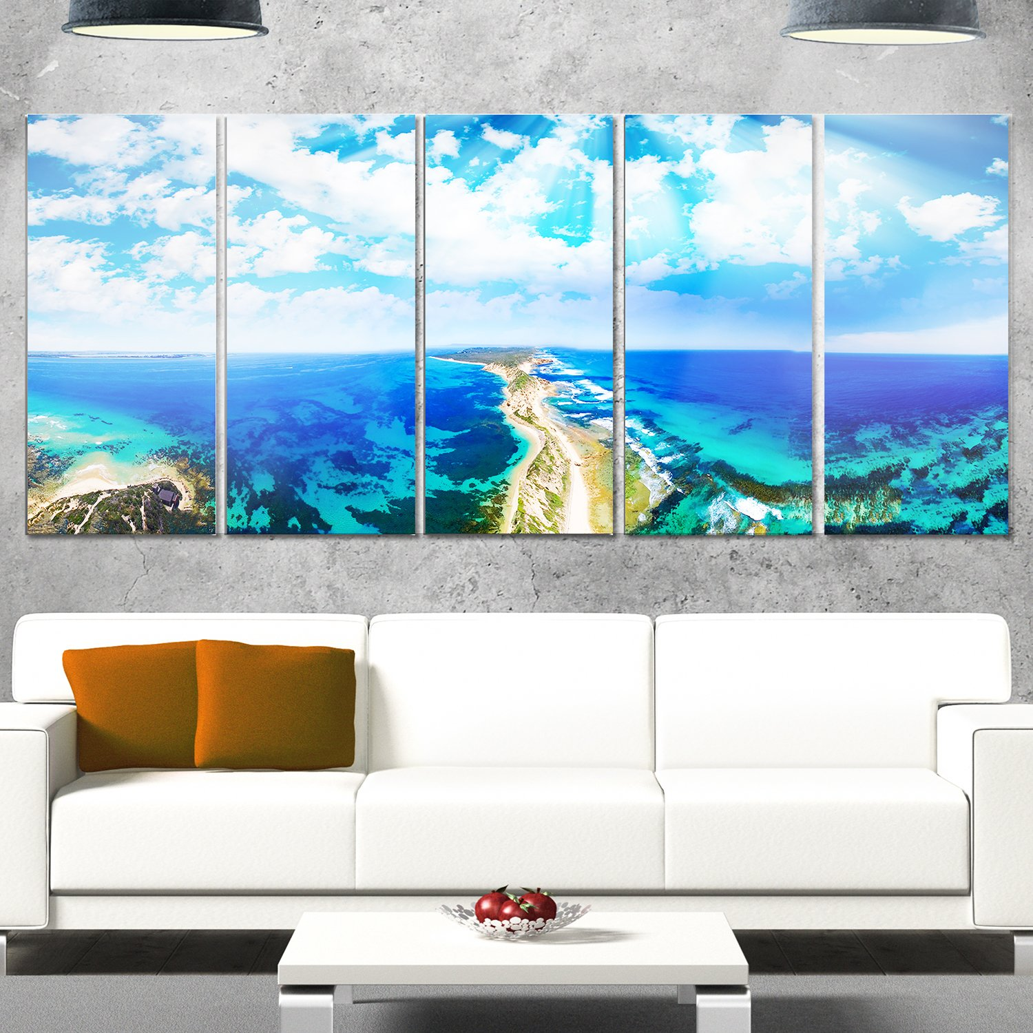 Landscape Glossy Metal Wall Art 60x32-5 Panels Diamond Shape Designart Blue Fort Nepean Road from Helicopter