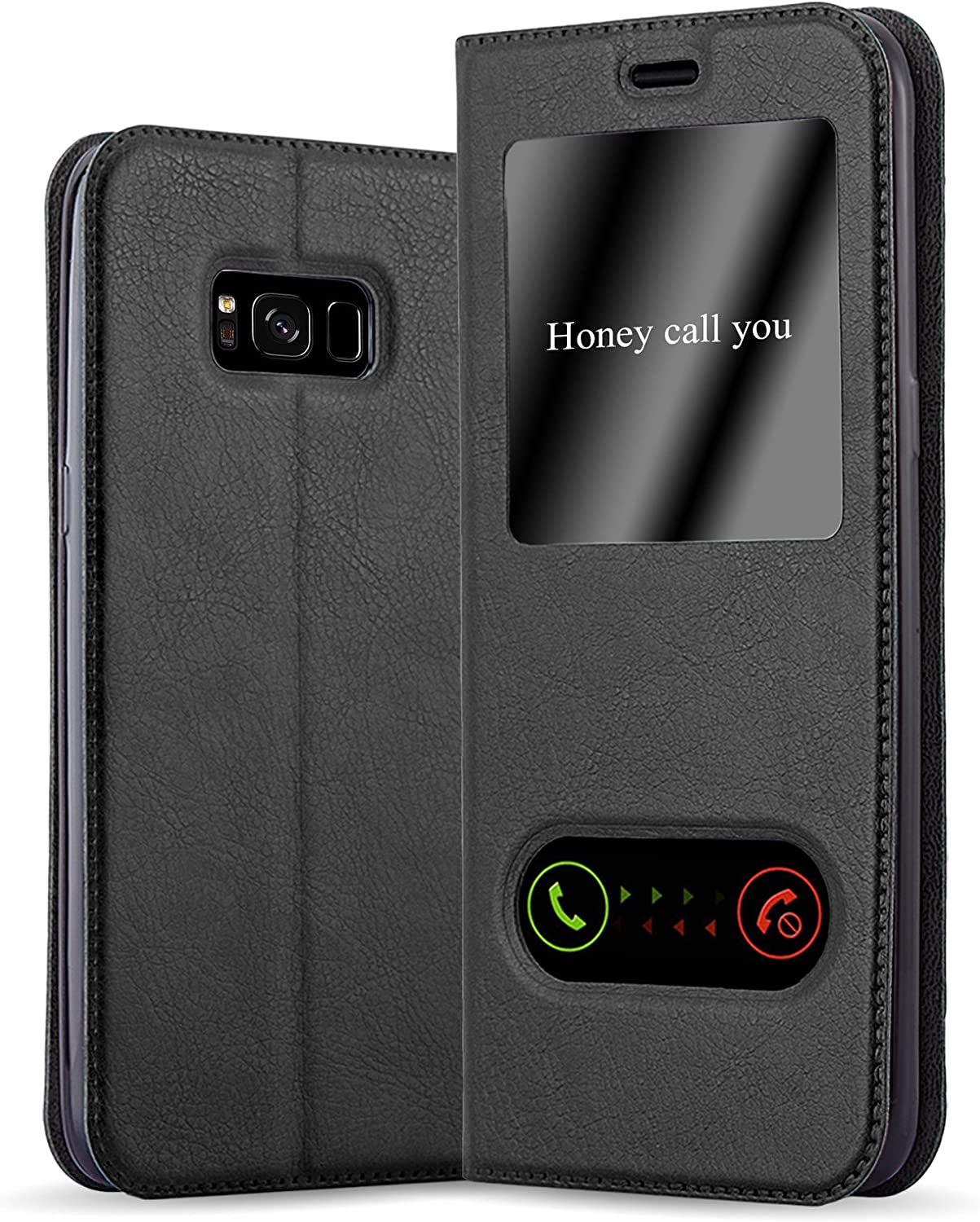 Cadorabo Book Case Works with Samsung Galaxy S8 in Comet Black – with Magnetic Closure, 2 Viewing Windows and Stand Function – Wallet Etui Cover Pouch PU Leather Flip