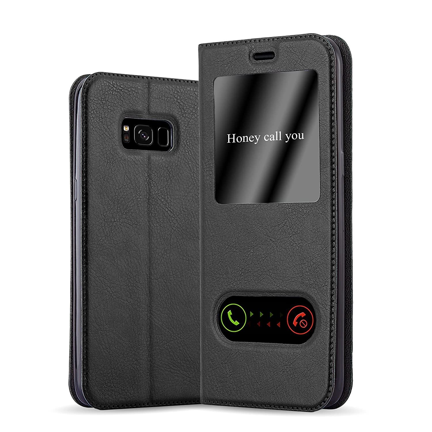 Cadorabo Book Case Works with Samsung Galaxy S8 Plus in Comet Black – with Magnetic Closure, 2 Viewing Windows and Stand Function – Wallet Etui Cover Pouch PU Leather Flip