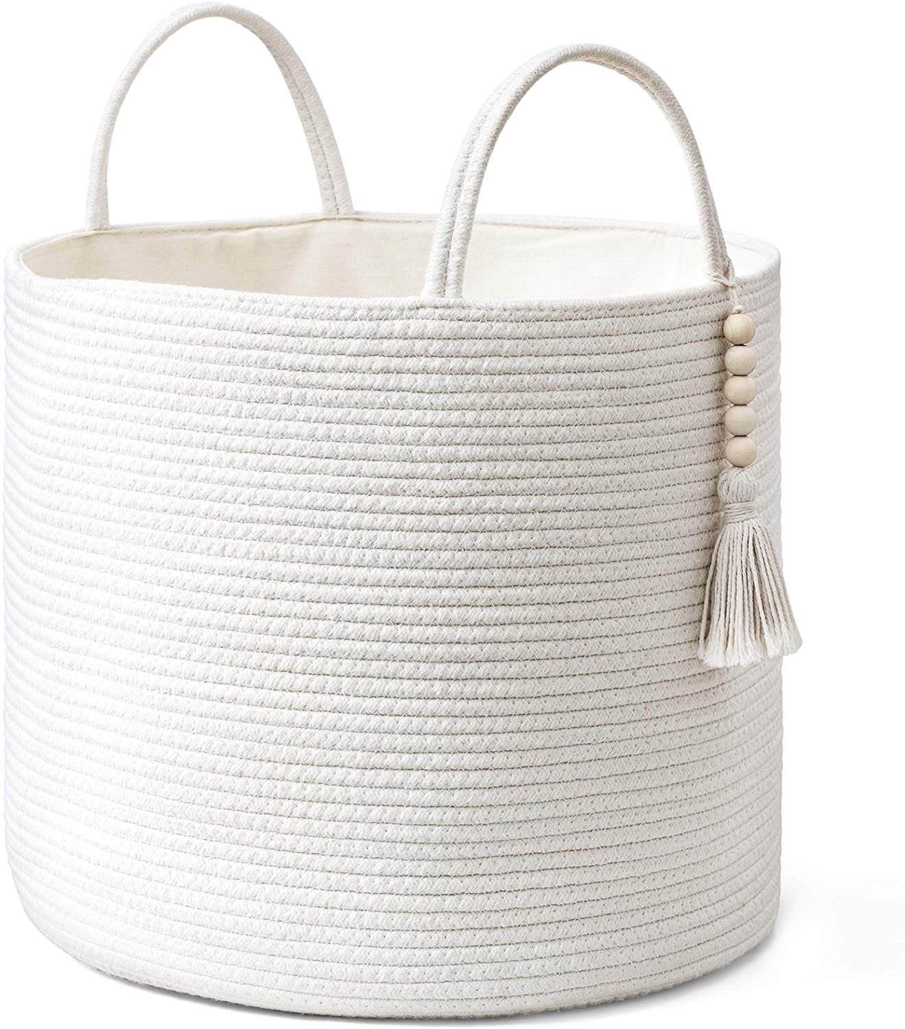 Mkono Woven Storage Basket Decorative Natural Rope Basket Wooden Bead Decoration for Blankets,Toys,Clothes,Shoes,Plant Organizer Bin with Handles Living Room Home Decor, White, 16