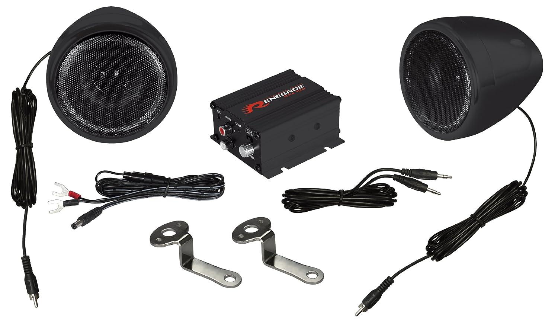 Set of 2 Renegade Mobile Audio Black Renegade RXA100B Powersports Sound System