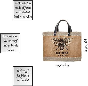 Bees Knees SB Design Studio Waterproof Jute Mini Market Tote 13 x 10