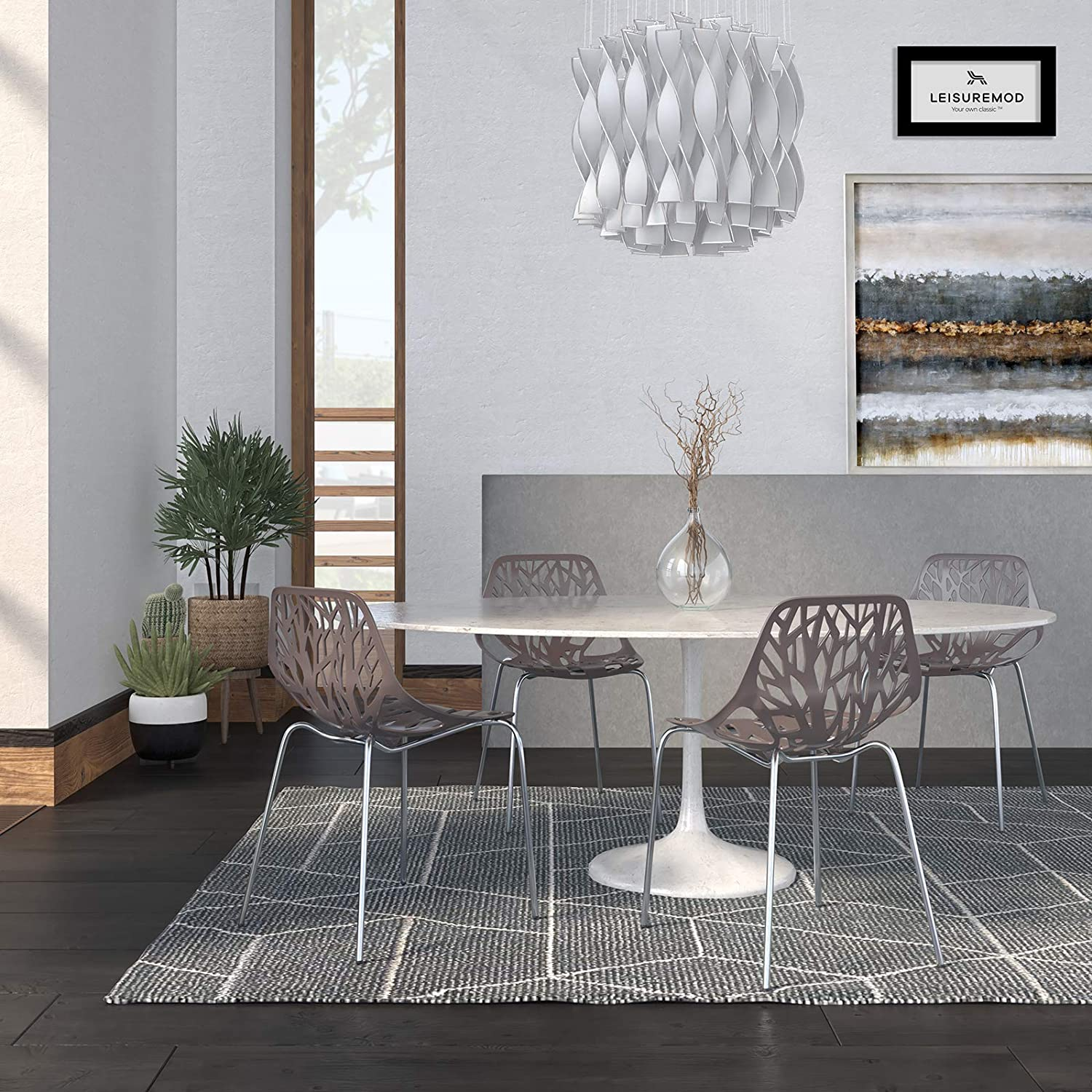 LeisureMod Forest Modern Dining Chair with Chromed Legs, Set of 4 Taupe