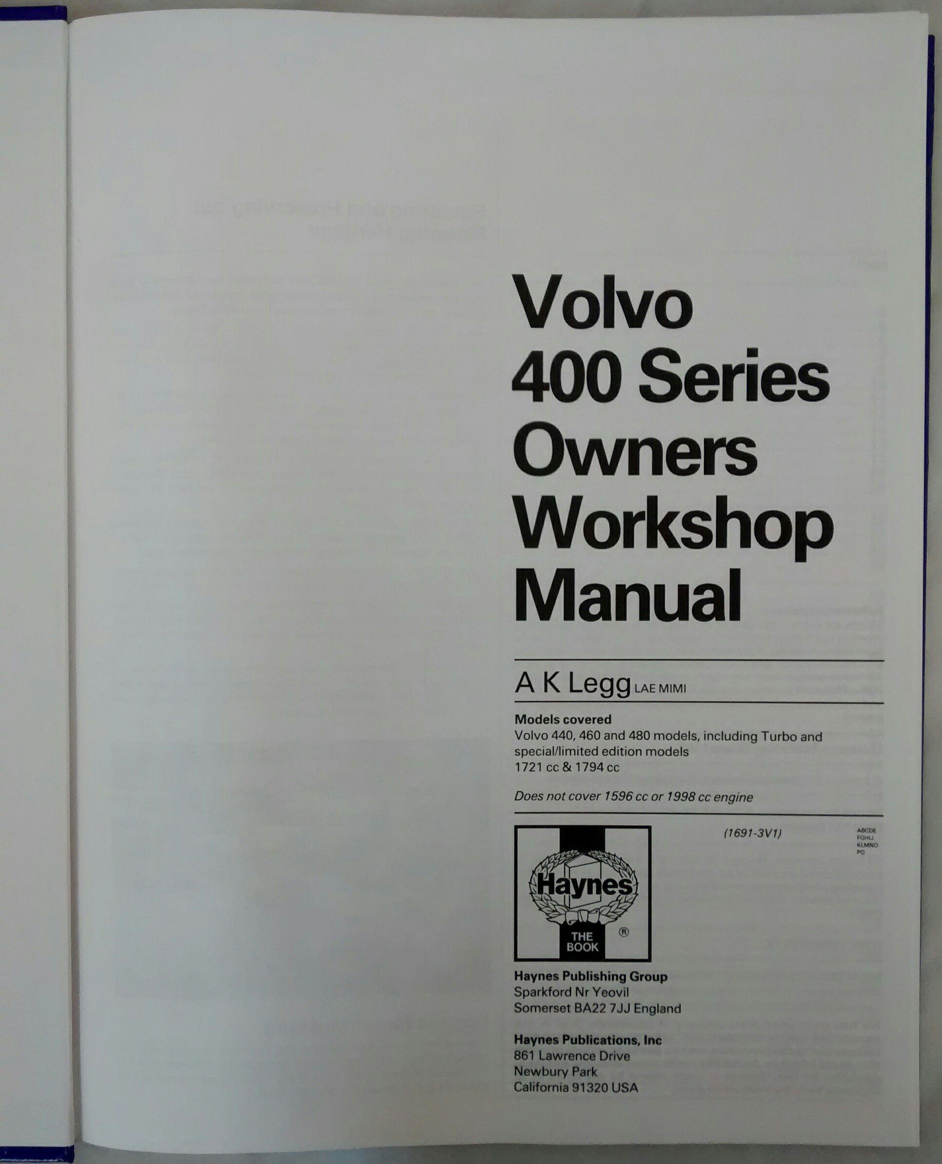 Volvo 440, 460 and 480 Owners Workshop Manual Service & repair manuals: Amazon.es: A. K. Legg: Libros en idiomas extranjeros